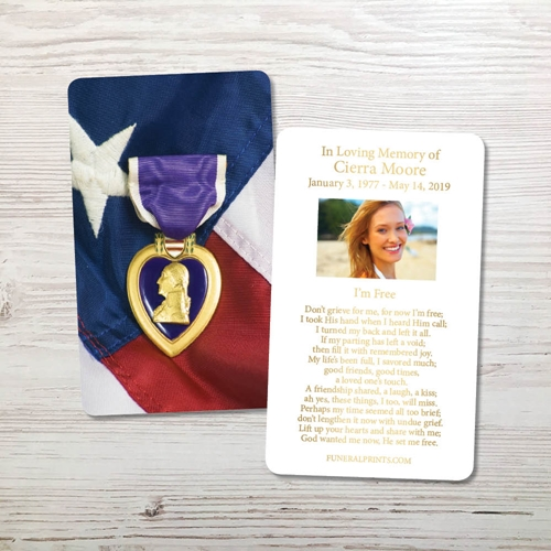 Picture of Purple Heart Gold Foil Memorial Card