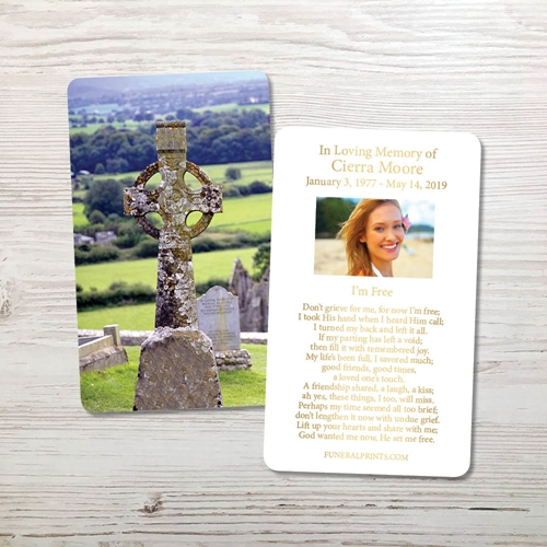Picture of Celtic Cross 2 Gold Foil Memorial Card
