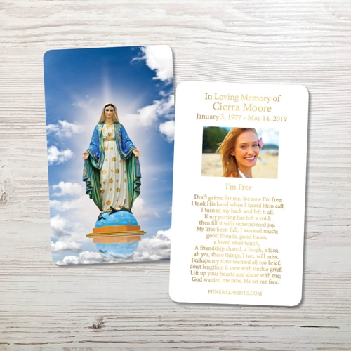 Picture of Virgin Mary Gold Foil Memorial Card