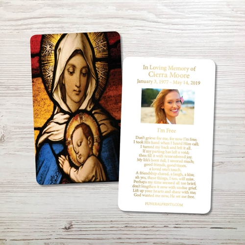 Picture of Virgin Mary with Baby Jesus Gold Foil Memorial Card