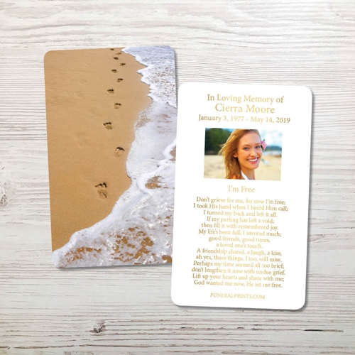 Picture of Foot Prints Gold Foil Memorial Card