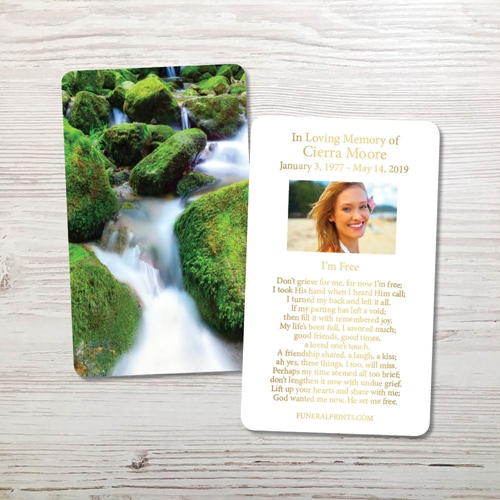 Picture of Moss on the Rocks Gold Foil Memorial Card