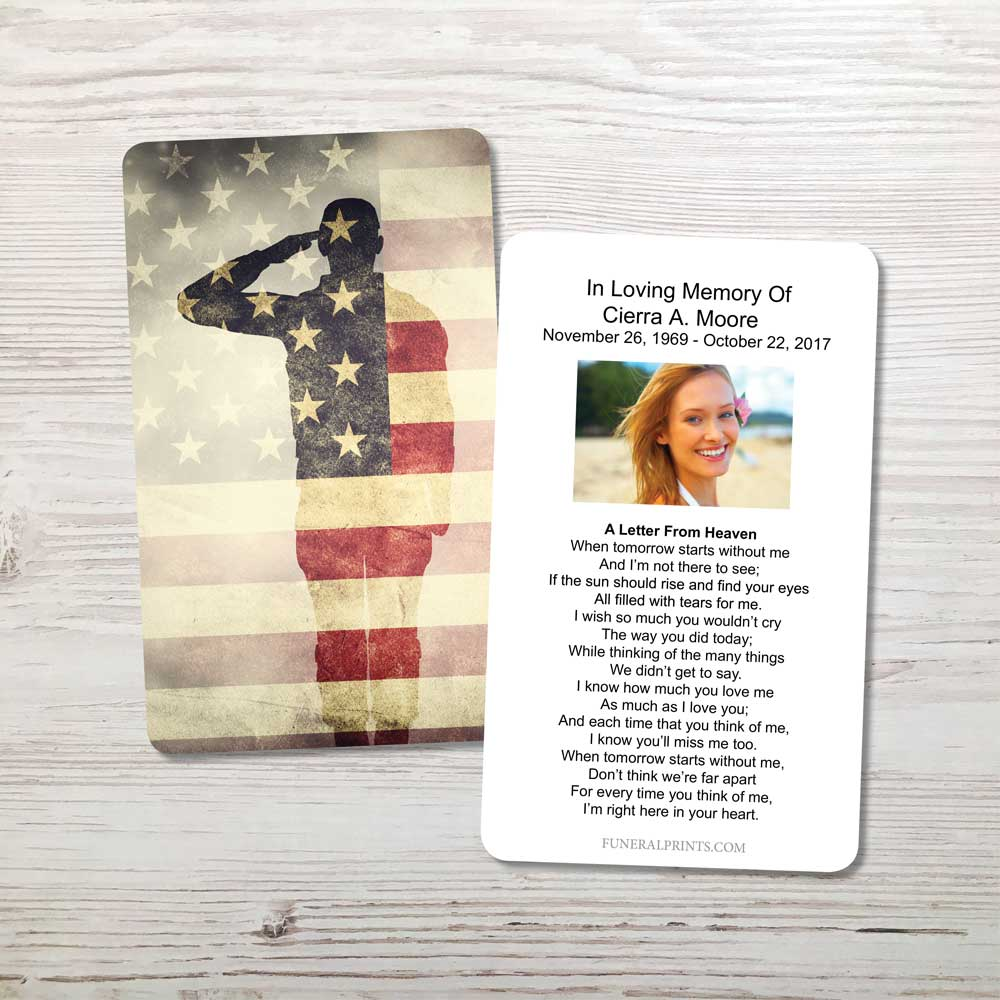 Picture of Soldier Saluting Memorial Card