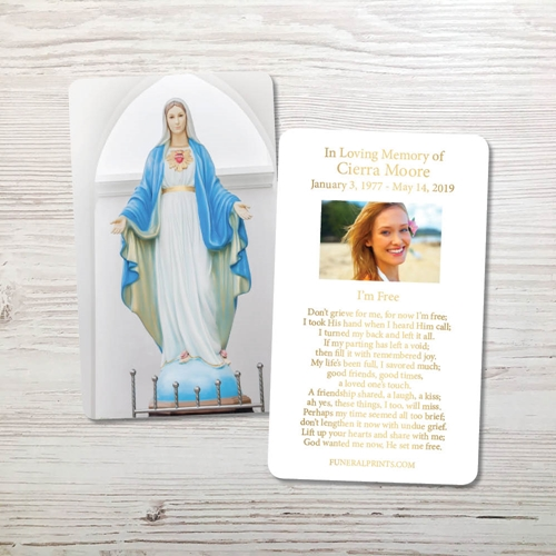 Picture of Blessed Virgin Mary Gold Foil Memorial Card