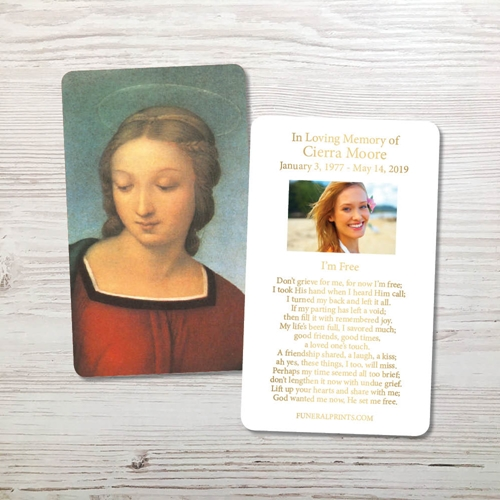 Picture of Mary Gold Foil Memorial Card