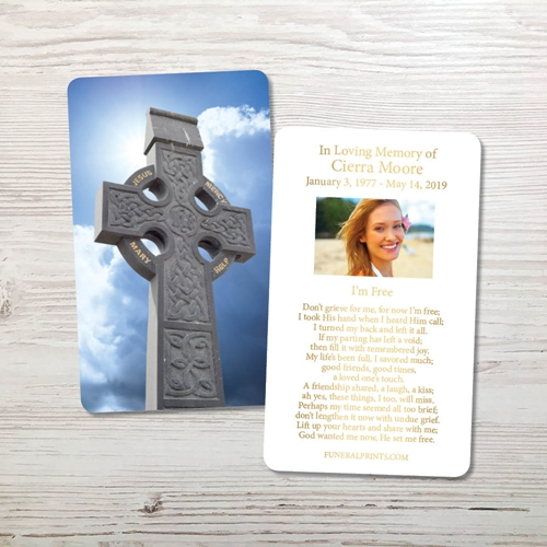 Picture of Celtic Cross Blue Sky 1 Gold Foil Memorial Card