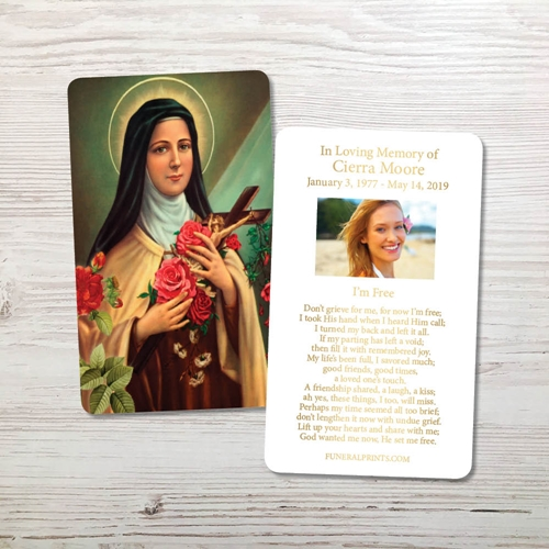 Picture of St. Therese Gold Foil Memorial Card