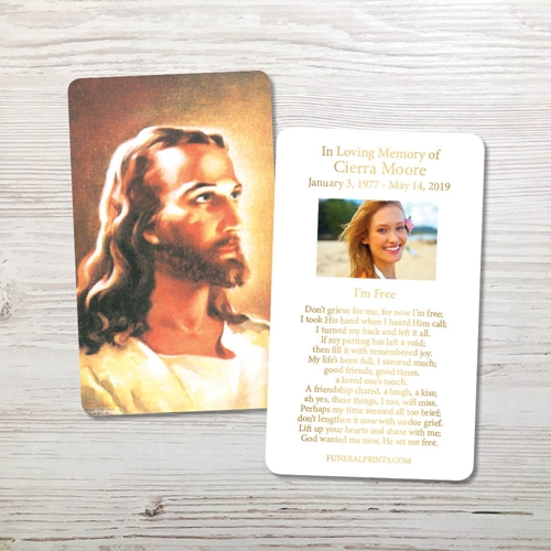 Picture of Jesus 2 Gold Foil Memorial Card