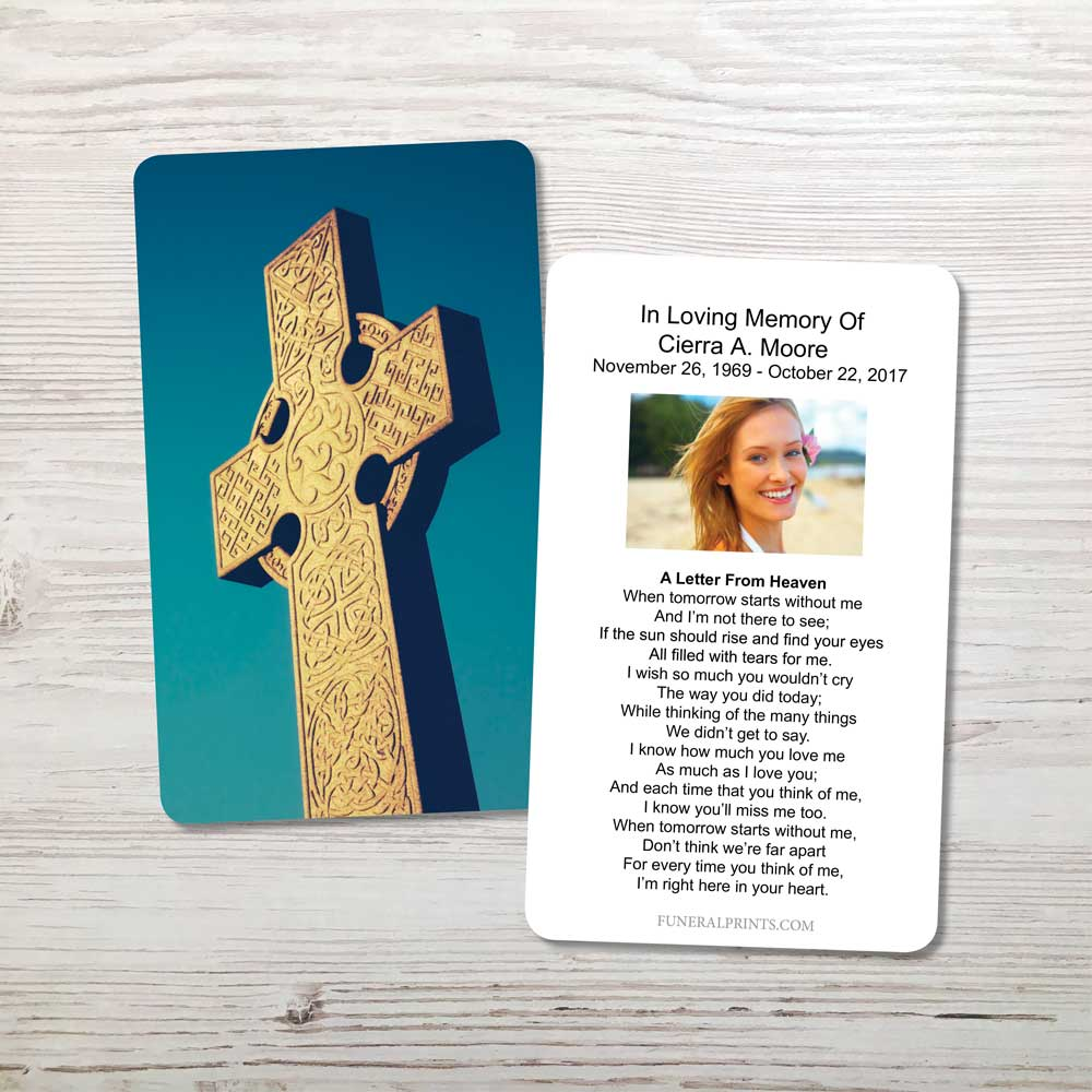 Picture of Celtic Cross Blue Sky 2 Memorial Card
