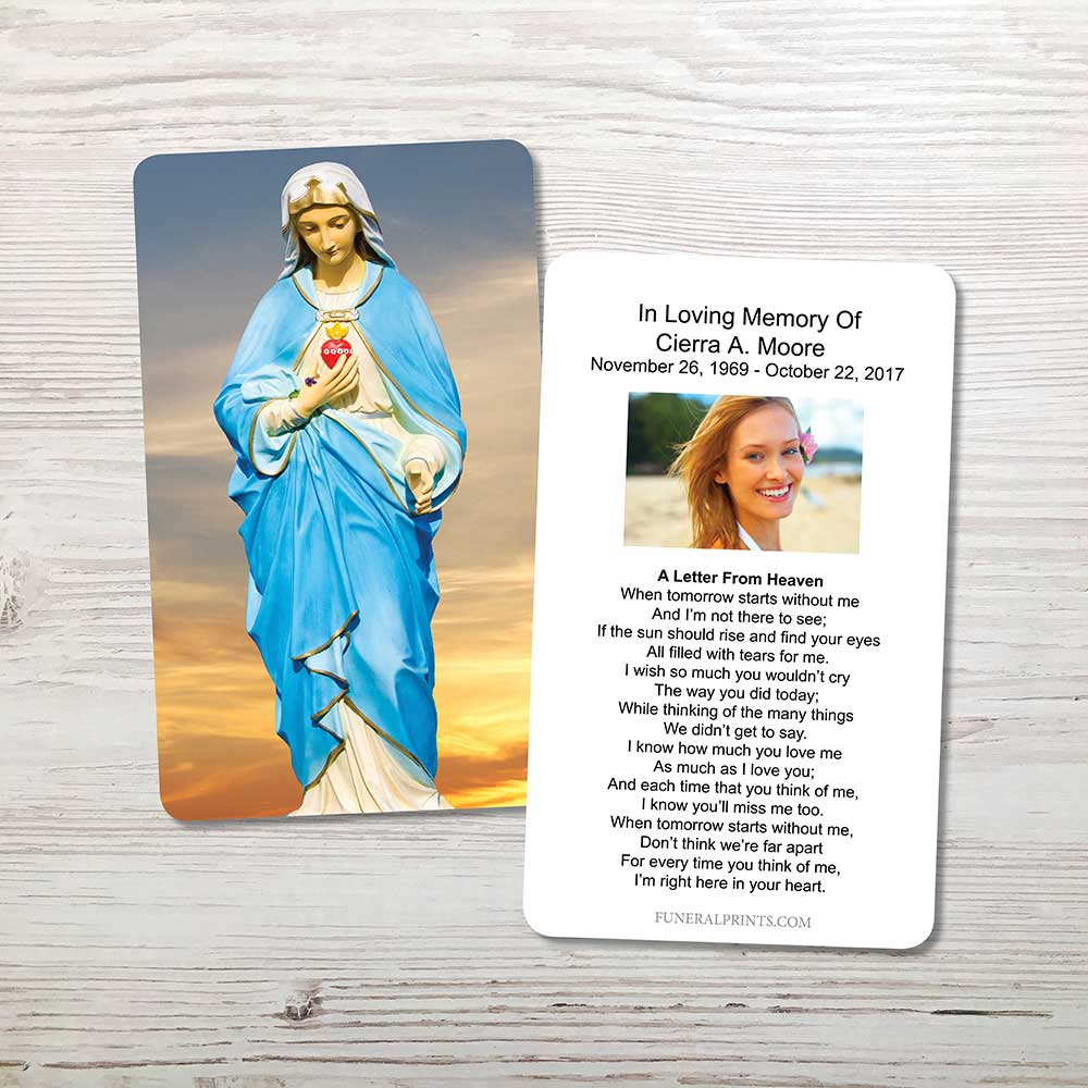 Picture of Virgin Mary Sky 2 Memorial Card