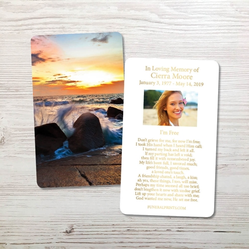 Picture of Crashing Waves Gold Foil Memorial Card